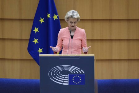 Photo pour European Commission President Ursula von der Leyen addresses the plenary during her first State of the Union speech at the European Parliament in Brussels,Belgium on Sept. 16, 2020. - image libre de droit