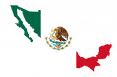 Mexico map flag vector illustration