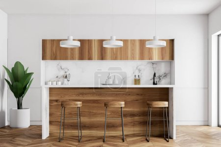 Kitchen corner with white walls, a wooden floor, a wooden bar with stools and a row of lamps hanging above it. 3d rendering mock up