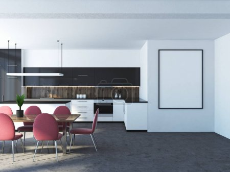 White kitchen interior with a concrete floor, black and white countertops with built in appliances and a wooden table with pink chairs. A frame poster on a wall. 3d rendering mock up