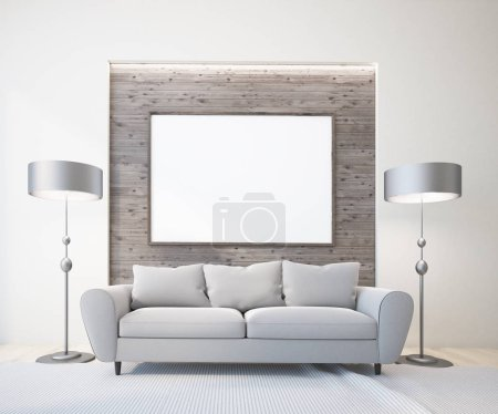 Luxury gray sofas standing in Scandinavian style living room interior. Original floor lamps and a horizontal mock up poster frame. A close up. 3d rendering