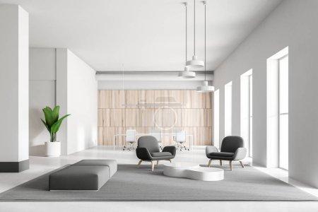 Photo pour Intérieur du blanc et en bois bureau salle d'attente avec fauteuils gris et blancs, un tapis sur le sol et les grandes fenêtres. rendu 3D - image libre de droit