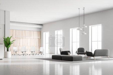 Sala de espera oficina moderna con suaves gris Sofás y sillones. Grandes ventanales. Una sala de reuniones en el fondo. Render 3D mock up