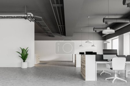 Gray ceiling industrial style office interior with wooden cubicles, white computer desks and panoramic windows. 3d rendering mock up