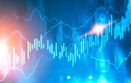 Photo pour Brillant Forex comme les graphiques et les graphiques à barres interface immersive sur un fond bleu rouge flou. Concept de bourse. Infographie d'entreprise abstraite. Image tonique double exposition maquette - image libre de droit