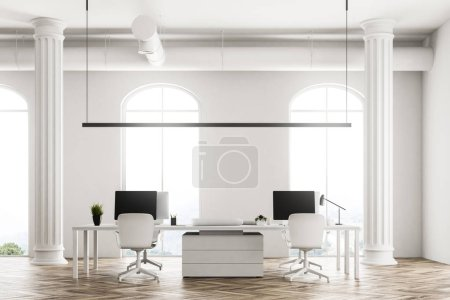 Modern company office interior with white computer tables, arched windows and a wooden floor. Concept of interior design. 3d rendering mock up.