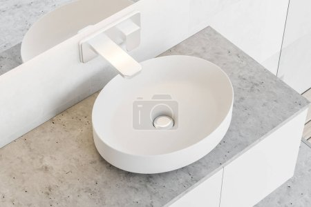 Stylish white sink standing on a stone countertop attached to a white wall. A long horizontal mirror hanging above it. A top view. 3d rendering mock up