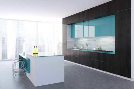 Photo for Black and white panoramic kitchen interior with a concrete floor, black and blue countertops and loft windows. 3d rendering mock up - Royalty Free Image