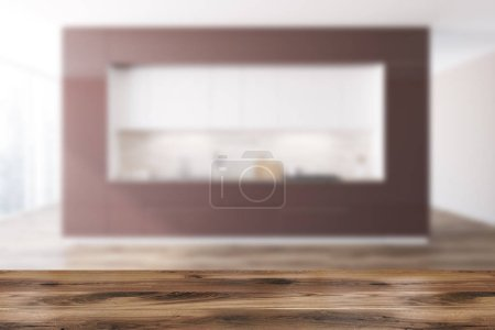 Brown and white original kitchen interior with a wooden floor, white and brown countertops and loft windows. 3d rendering mock up blurred