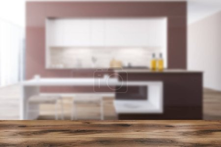 Brown and white original kitchen interior with a wooden floor, white and brown countertops and loft windows. Bar. 3d rendering mock up blurred