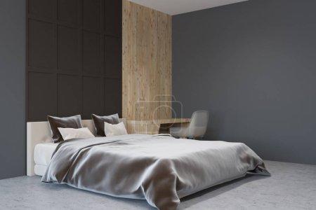 Photo pour Intérieur de chambre gris foncé et en bois avec un sol en béton, un lit double et un coin bureau à la maison. Concept de design d'intérieur. Modélisation de rendu 3d - image libre de droit