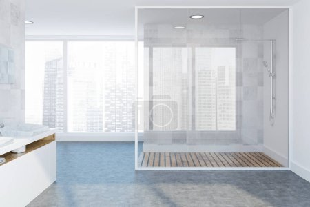 White tile luxury bathroom interior with a concrete floor, a double vessel sink and a glass wall shower stall near the loft window. 3d rendering