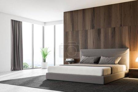 Photo pour Coin chambre des maîtres avec des murs en bois foncé, un lit principal gris et une lampe debout sur une table de chevet. Modélisation de rendu 3d - image libre de droit