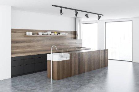 Photo pour Cuisine en bois île debout dans une cuisine en bois blanche avec un béton windows étage et grenier. rendu 3D - image libre de droit