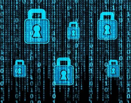 vertikale Reihen leuchtend blauer binärer Ziffern, die vor schwarzem Hintergrund fallen. Hologramme mit Vorhängeschloss. Internet-Sicherheit und Konzept für persönliche Daten. Doppelbelichtung täuscht vor.
