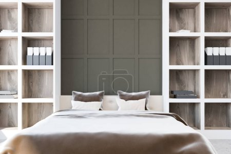Master bedroom interior with gray walls, a gray master bed and two tall bookcases standing near it. A front view. 3d rendering mock up