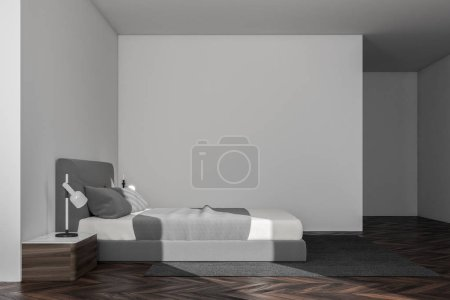 Minimalistic bedroom corner with white walls, a wooden floor and a king size bed. Scandinavian style. Side view 3d rendering mock up