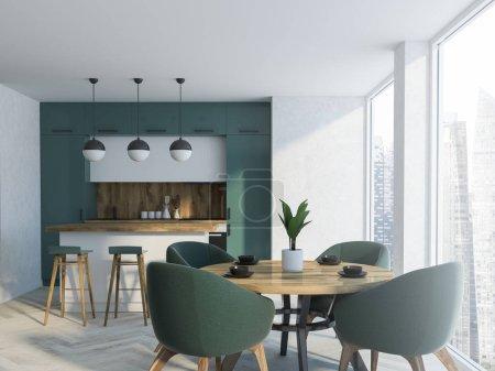 Foto de Comedor blanco y verde interior con un piso de concreto, una mesa de madera con sillas y una ventana de loft. Un bar con taburetes. Render 3D mock up - Imagen libre de derechos