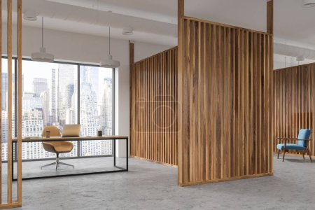 Photo for Interior of a manager s office with wooden walls, panoramic windows, a table and a yellow chair. 3d rendering mock up - Royalty Free Image