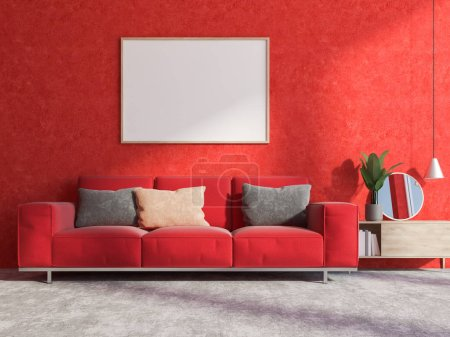 Red living room interior with a concrete floor, a soft red couch and a cabinet with a mirror. A horizontal poster frame 3d rendering mock up