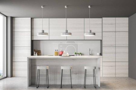 grauer Kücheninnenraum mit Bar und Loft-Fenstern. Betonboden und graue Wände. 3D-Rendering-Attrappe