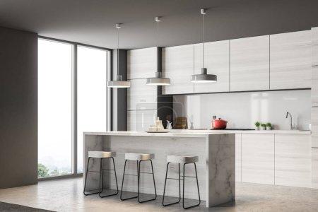 graue Küchenecke mit Bar und Dachgeschossfenstern. Betonboden und graue Wände. 3D-Rendering-Attrappe