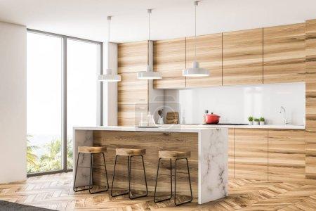 Kochnische aus Holz mit Bar und Loft-Fenstern. Holzboden und weiße Wände. 3D-Rendering-Attrappe