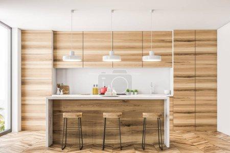 Holzküche mit Bar und Dachgeschossfenstern. Holzboden und weiße Wände. 3D-Rendering-Attrappe