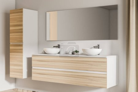 Side view of two bathroom sinks standing on a wooden shelf in a white wall bathroom with a wooden floor. A closet in the corner. 3d rendering mock up