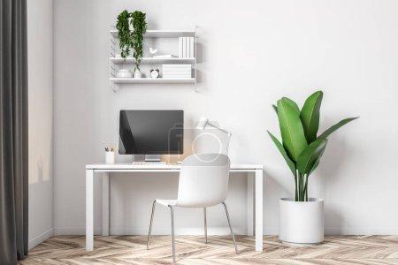 Photo pour Mur blanc espace de travail à domicile dans une pièce soignée avec un sol en bois et un bureau d'ordinateur blanc. Des étagères et une plante en pot. Modélisation de rendu 3d - image libre de droit