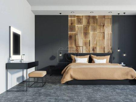 Photo pour Chambre des maîtres intérieure avec murs en bois et gris, un sol en béton et un lit double près d'une grande fenêtre. Une table de maquillage près du mur 3d rendu maquette - image libre de droit
