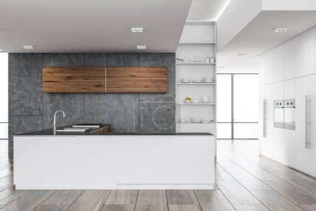 Modern kitchen interior with white countertops, wooden cupboards, and a wooden floor. 3d rendering mock up