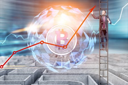 Businessman on a ladder drawing a red growing graph of Bitcoin growth while climbing out of a maze. Glowing bitcoin symbol. 3d rendering mock up toned image double exposure