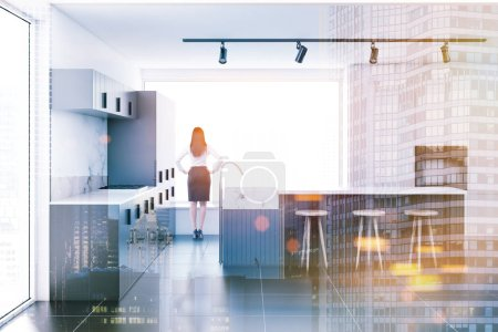 Woman looking in the window of a kitchen with marble walls, gray countertops and a bar with stools. 3d rendering toned image double exposure
