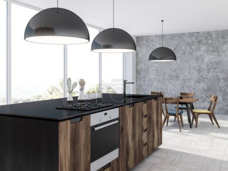 Panoramic kitchen interior with a white wooden floor, a table with chairs, wooden and black counters and black ceiling lamps. 3d rendering