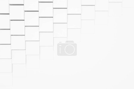 Abstract white squares shading backdrop. Concept of art and design. Creative marketing strategy. 3d rendering mock up