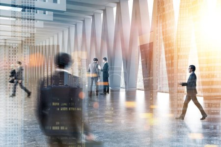 Photo for Business people communicating in a lobby with gray walls, and triangular pattern windows with a cityscape. City in the foreground 3d rendering mock up toned image double exposure blurred - Royalty Free Image