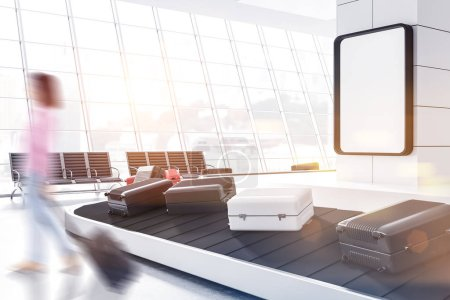 Gray, white and pink suitcases on airport conveyor belt in a white wall room with benches near the window. Woman. A poster on the wall. Side view. 3d rendering mock up toned image blurred