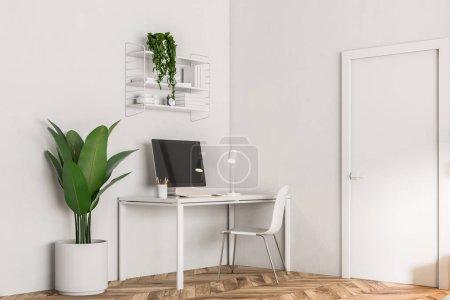 Interior of a home office workplace with a computer on a small table, a plant and bookshelves. White walls, wooden floor. Freelance work. Working from home 3d rendering mock up