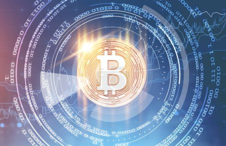 Hologram of bitcoin against glowing immersive interface over blue background. Hi tech and innovation communication global world concept. Toned image double exposure