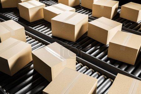 Closed cardboard boxes on a conveyor belt. Concept of delivering goods and logistics. 3d rendering mock up