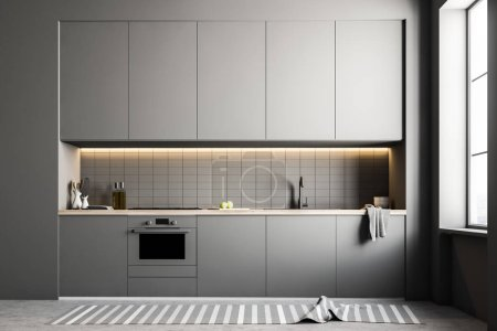 Photo for Stylish kitchen interior with white walls, a concrete floor and gray countertops and closets. 3d rendering mock up - Royalty Free Image