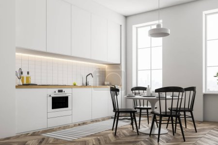 Stylish kitchen interior with white walls, a wooden floor and white countertops and closets. A table with chairs Side view. 3d rendering mock up