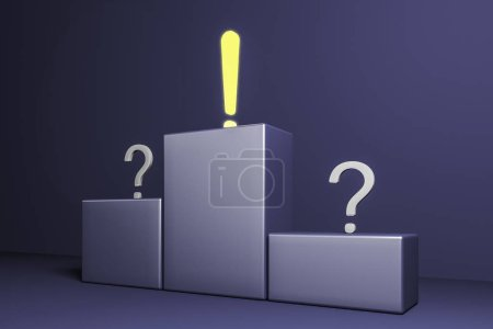 Glowing exclamation mark and two question marks on the pedestal. The exclamation mark is on the first place. Side view Concept of looking for an answer to a challenging question. 3d rendering