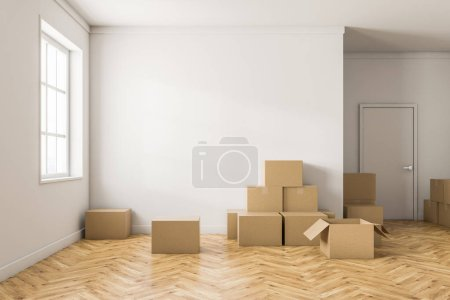 Empty white room interior with white walls, a wooden floor, a large window and stacks of closed cardboard boxes. Concept of moving in. 3d rendering mock up
