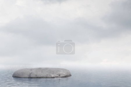 Lonely flat rock in an open sea against a cloudy stormy sky. Concept of losing your way in business and life. Challenging problem solving. 3d rendering mock up