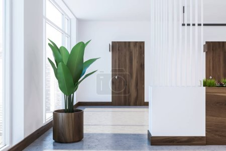 Photo for Hotel corridor with white walls, a concrete floor and a closed wooden door with a door sign. Potted plant. 3d rendering mock up - Royalty Free Image
