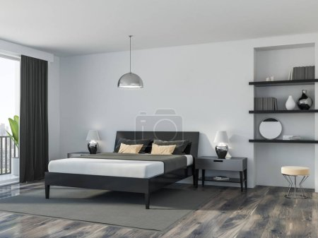 Corner of a modern bedroom with white walls, a wooden floor, a double bed and a bookcase. Loft window. 3d rendering mock up