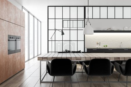 Photo for Black and concrete wall kitchen and dining room interior with a wooden floor, brown closets with built in appliances, black countertops and a wooden table with chairs. 3d rendering mock up - Royalty Free Image