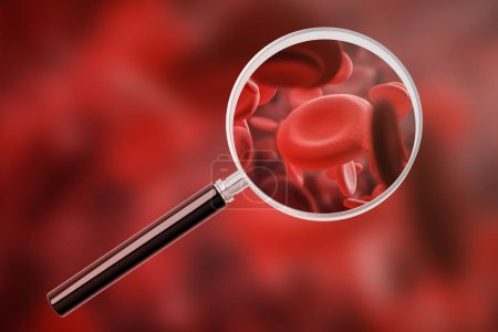 Red blood cells macro seen through magnifying glass over red eritrosit background. Concept of blood cells count, medicine and healthcare. 3d rendering mock up
